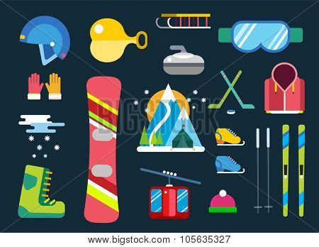 Winter sport vector icons set. Winter sport games icons pictograms. Winter sports icons flat design. Winter games sport icons isolated. Ski sport, active extremal sports, winter games, sport icons