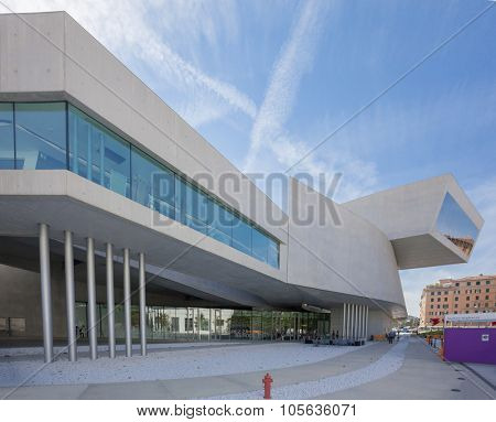ROME, ITALY - SEPTEMBER 16, 2011: The Maxxi National Museum of the 21st Century Arts is a museum of contemporary art designed by British star architect Zaha Hadid
