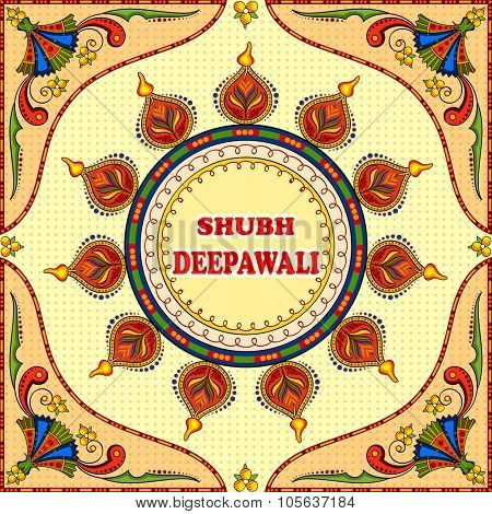 illustration of Happy Diwali background with floral diya with message Shubh Deepawali (Happy Diwali)