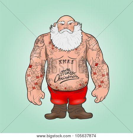 Santa with tattoos