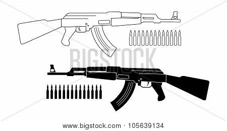 Assault Rifle With Bullets. Contour. Silhouette