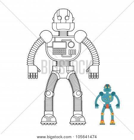 Robot Coloring Book. Cyborg - Technological Machine. Humanoid Machine Of Future.