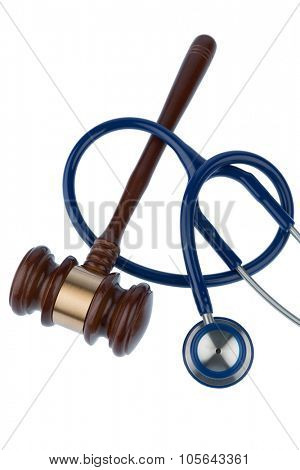 gavel and stethoscope, symbol photo for bungling and medical error