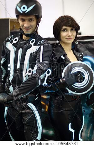 MOSCOW - OCT 12, 2014: Portrait of Tron legacy of heroes at the EveryCon 2014 in the exhibition center Sokolniki