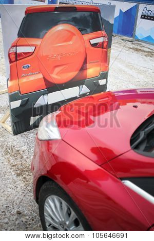 MOSCOW - DEC 05, 2014: Compliance the distance with mock of the car at the site of the Academy of safe driving Ford in Moscow
