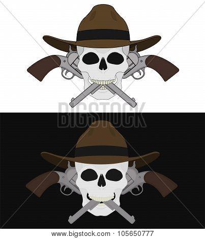 Skull in hat 2 crossed pistols emblem