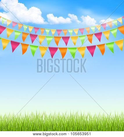 Grass lawn with bright buntings clouds on blue sky