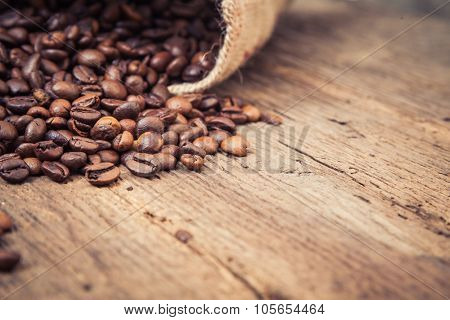 Fine roasted coffee beans concept