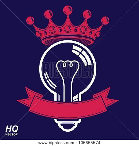 Electricity Light Bulb Symbol With Crown, Insight Emblem. Vector Royal Conceptual Icon.