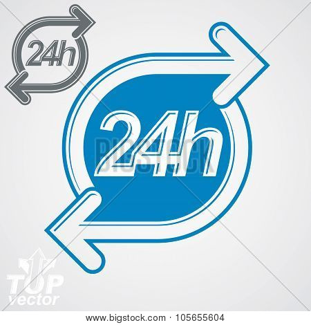 Simple vector 24 hours timer around-the-clock flat pictogram. Twenty-four hours a day interface icon. Business time management illustration. poster