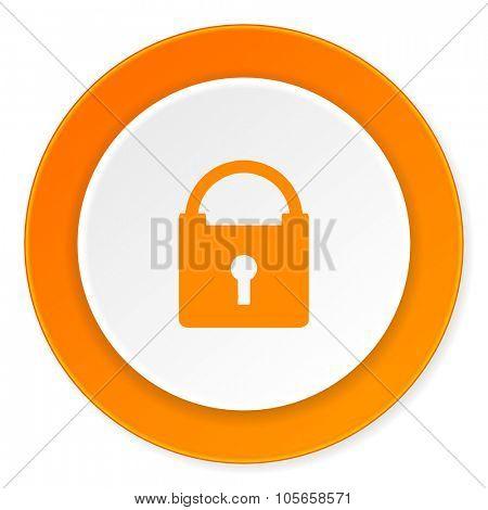 padlock orange circle 3d modern design flat icon on white background poster