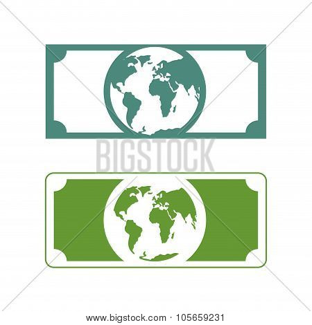 Worlds Money. dollar With Planet Earth. Future Of Cash With Picture Of  Earth. Currency Future