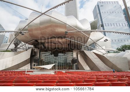 Chicago Millennium Park, Designed By Frank Gehry, Surrounded By Highrise C