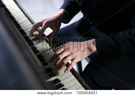 Close up of musician hands classic piano playing poster