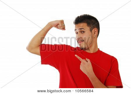 Skinny Guy Showing Off His Muscle