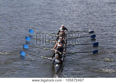 BOSTON - OCTOBER 18 2015: Milwaukee races in the Head of Charles Regatta Women's Youth Eights