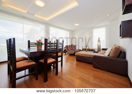 Interior design: Modern dining room and living room