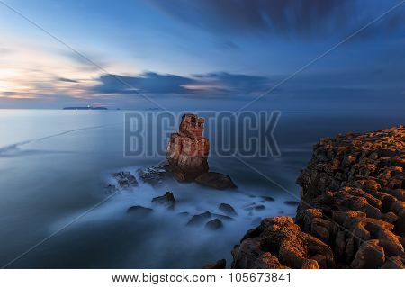 Nau dos Corvos in the Carvoeiro Cape Peniche Portugal during the blue hour poster
