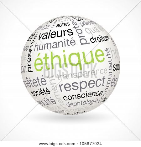 French Ethics Theme Sphere With Keywords