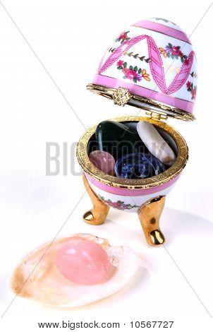 egg-box with semi-precious stones