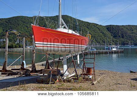 Shipyard & Yacht Being Maintained At Waikawa, New Zealand