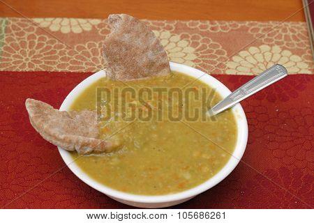 Bowl Of Homemade Split Pea Soup