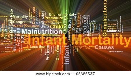 Background concept wordcloud illustration of infant mortality glowing light