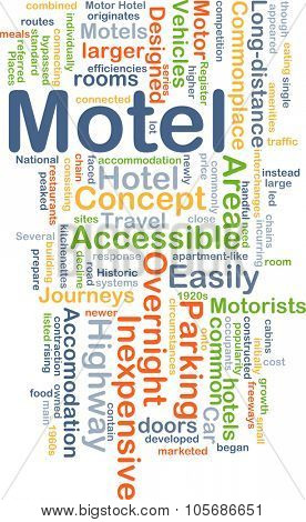 Background concept wordcloud illustration of motel