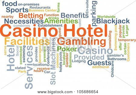 Background concept wordcloud illustration of casino hotel