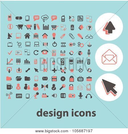 design concept icons, symbols on background, vector