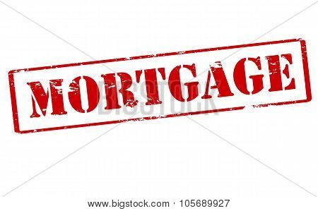 Rubber stamp with word mortgage inside vector illustration poster