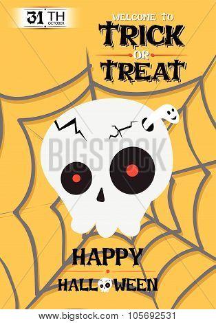 Vector Cranium Poster Halloween Party Illustration