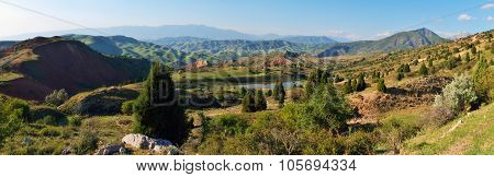 Panoramic View Of Mountains And Lake
