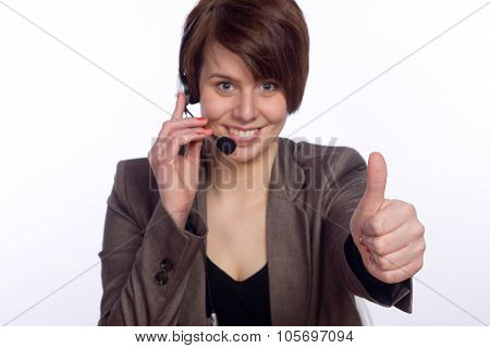 Smiling Callcenter Agent showing thumb up