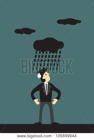 Dark Cloud Raining On Man Vector Cartoon