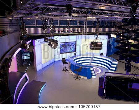Tv News Studio With Light Equipment Ready For Recording