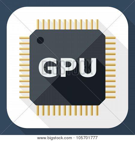Gpu Icon With Long Shadow