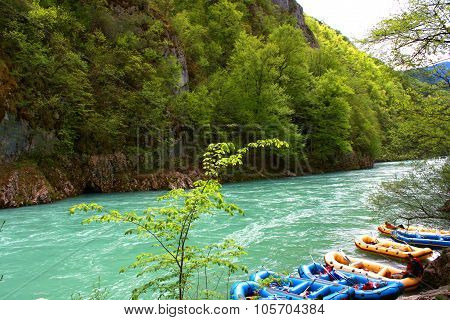 White water rafting on the rapids of river Tara in Montenegro poster