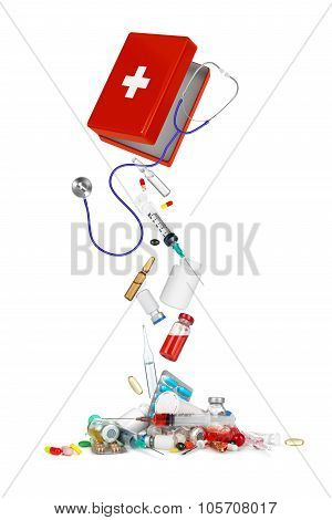 Falling From Box Medical Syringes, Bottles, Pills, Ampules And Stethoscope Isolated On White