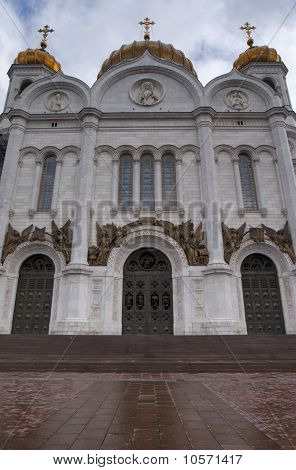 Facade of Saint Salvator Cathedral in Moscow.