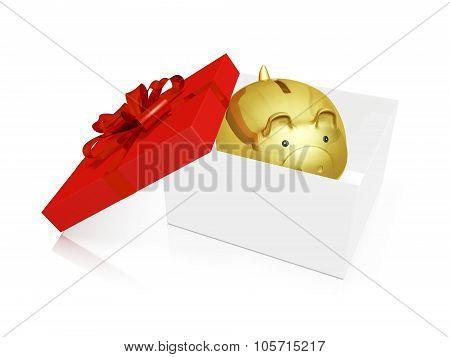 Gold Piggy Savings Bank In A Gift Box