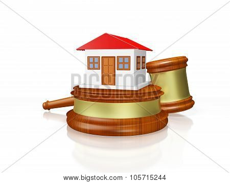 House And Judge Gavel Mallet