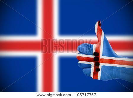 Flag Of Iceland On Female's Hand