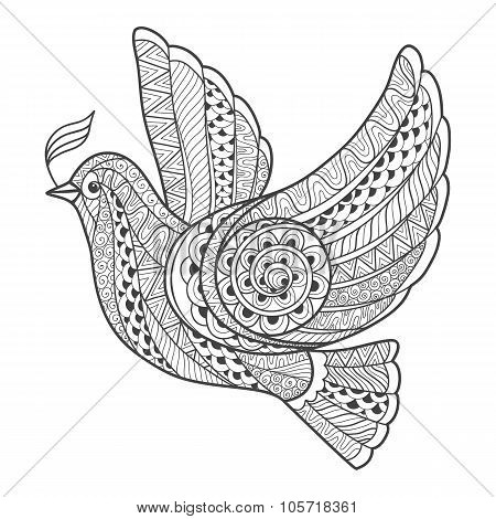 Zentangle stylized dove with branch.