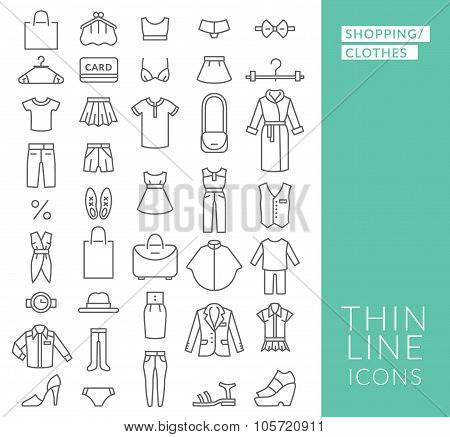 Set With Thin Line  Icons On Theme Of Shopping And Clothe