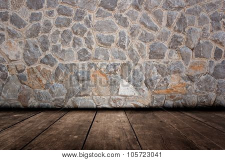 Stone Wall And Wood Flooring Surface.