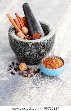 gingerbread spices with mortar and pestle