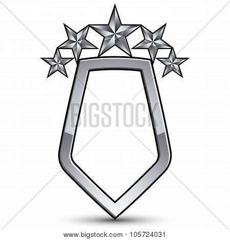 Festive Vector Emblem With Silver Outline And Five Decorative Pentagonal Stars, 3D Royal Conceptual