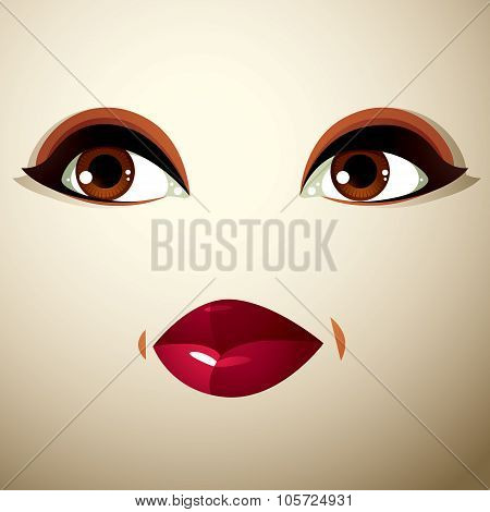 Attractive Woman With Stylish Bright Make-up. Sexy Caucasian Sad Lady. Human Eyes And Lips Reflectin