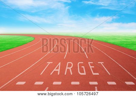 Outdoor Racetrack With Sign Target With Blue Sky Background